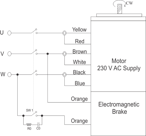 3 Phase Brake Motor Wiring Diagram : Watt electromagnetic brake motor and gear